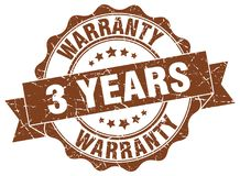3 years warranty seal. stamp. 3 years warranty round seal isolated on white background stock illustration