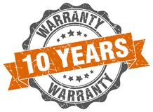 10 years warranty seal. stamp. 10 years warranty round seal isolated on white background stock illustration