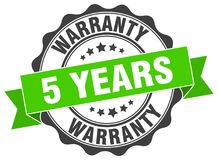 5 years warranty seal. stamp. 5 years warranty round seal isolated on white background. 5 years warranty royalty free illustration