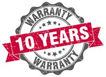 10 years warranty seal. stamp. 10 years warranty round seal isolated on white background. 10 years warranty vector illustration