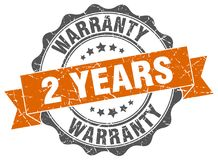 2 years warranty seal. 2 years warranty round ribbon seal isolated on white background Royalty Free Stock Image