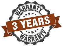 3 years warranty seal. 3 years warranty round ribbon seal isolated on white background Royalty Free Stock Photo