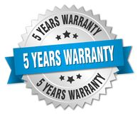 5 years warranty. Silver badge with blue ribbon stock illustration