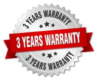 3 years warranty. Silver badge with red ribbon stock illustration