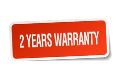 2 years warranty sticker. 2 years warranty square sticker isolated on white background. 2 years warranty Royalty Free Stock Photography