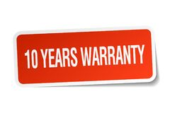 10 years warranty sticker. 10 years warranty square sticker isolated on white background. 10 years warranty Stock Photography