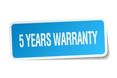 5 years warranty sticker. 5 years warranty square sticker isolated on white background. 5 years warranty Royalty Free Stock Image