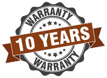 10 years warranty stamp. 10 years warranty grunge stamp on white background Stock Image