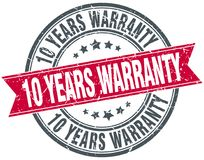 10 years warranty stamp. 10 years warranty round grunge vintage ribbon stamp. 10 years warranty Stock Images