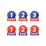 Warranty tag, one two three year guarantee, vector flat icon. Years of warranty stamp set, one two three numbers, guarantee signs, approved symbol, best choice Stock Photos