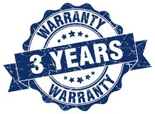 3 years warranty stamp. 3 years warranty grunge stamp on white background Stock Photography