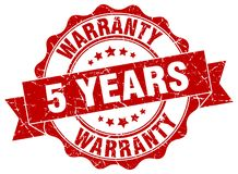 5 years warranty stamp. 5 years warranty grunge stamp on white background Royalty Free Stock Photography