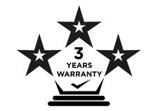 3 Years Warranty Stars Label for Manufacturing Package. 3 Years Warranty Stars Logo for Product Package Labels such as electronics and home appliance or devices Stock Image