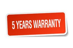 5 years warranty sticker. 5 years warranty square sticker isolated on white background. 5 years warranty Stock Photo