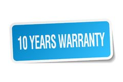 10 years warranty sticker. 10 years warranty square sticker isolated on white background. 10 years warranty Stock Photo
