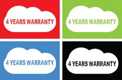 4 YEARS WARRANTY text, on cloud bubble sign. Stock Images