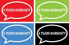 4 YEARS WARRANTY text, on ellipse speech bubble sign. Royalty Free Stock Photos