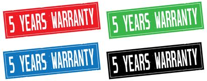 5 YEARS WARRANTY text, on rectangle stamp sign. 5 YEARS WARRANTY text, on rectangle stamp sign, in color set Royalty Free Stock Photography