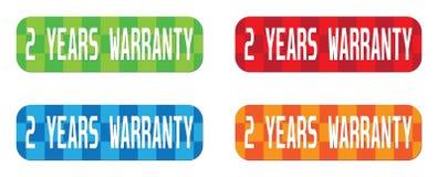 2 YEARS WARRANTY text, on rectangle, zig zag pattern stamp sign. 2 YEARS WARRANTY text, on rectangle, zig zag pattern stamp sign, in color set Royalty Free Stock Photography