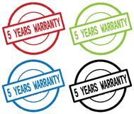 5 YEARS WARRANTY text, on round simple stamp sign. Royalty Free Stock Images