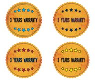 3 YEARS WARRANTY text, on round wavy border vintage, stamp badge Royalty Free Stock Photos