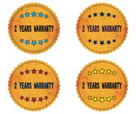 2 YEARS WARRANTY text, on round wavy border vintage, stamp badge Royalty Free Stock Photo