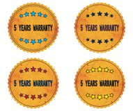 5 YEARS WARRANTY text, on round wavy border vintage, stamp badge. 5 YEARS WARRANTY text, on round wavy border vintage stamp badge, in color set Royalty Free Stock Image