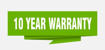 10 years warranty. 10 year warranty sign. 10 year warranty paper origami speech bubble. 10 year warranty tag. 10 year warranty banner stock illustration