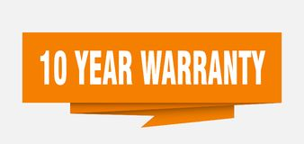 10 years warranty. 10 year warranty sign. 10 year warranty paper origami speech bubble. 10 year warranty tag. 10 year warranty banner royalty free illustration