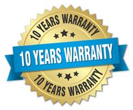10 years warranty. Gold badge with blue ribbon vector illustration