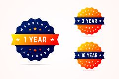 1, 3 and 10 years warrany stickers. Vector illustration for prod. Ucts or services stock illustration