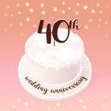40 years of wedding or marriage icon, illustration royalty free illustration