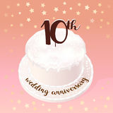 10 years of wedding or marriage vector icon, illustration. Design element with celebration cake for 10th wedding anniversary Stock Photography