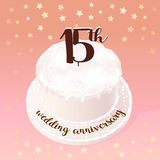 15 years of wedding or marriage vector icon, illustration. Design element with celebration cake for 15th wedding anniversary vector illustration
