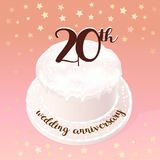 20 years of wedding or marriage vector icon, illustration. Design element with celebration cake for 20th wedding anniversary Stock Images
