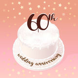 60 years of wedding or marriage vector icon, illustration. Design element with celebration cake for 60th wedding anniversary Stock Images