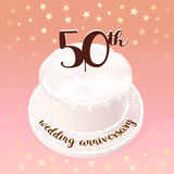 50 years of wedding or marriage vector icon, illustration. Design element with celebration cake for 50th wedding anniversary Stock Image