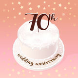 70 years of wedding or marriage vector icon, illustration. Design element with celebration cake for 70th wedding anniversary Royalty Free Stock Image