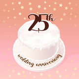 25 years of wedding or marriage vector icon, illustration. Design element with celebration cake for 25th wedding anniversary Stock Images