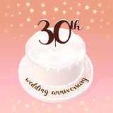 30 years of wedding or marriage vector icon, illustration. Design element with celebration cake for 30th wedding anniversary Royalty Free Stock Photos