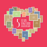 5 years of wedding or marriage vector icon, illustration. Template design element with photo frames and heart shape for celebration of 5th wedding anniversary Stock Image