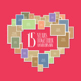 15 years of wedding or marriage vector icon, illustration. Template design element with photo frames and heart shape for celebration of 15th wedding stock illustration