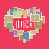 10 years of wedding or marriage vector icon, illustration. Template design element with photo frames and heart shape for celebration of 10th wedding Stock Photos
