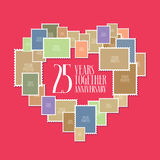25 years of wedding or marriage vector icon, illustration. Template design element with photo frames and heart shape for celebration of 25th wedding Royalty Free Stock Photography