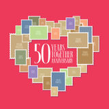 50 years of wedding or marriage vector icon, illustration. Template design element with photo frames and heart shape for celebration of 50th wedding Royalty Free Illustration