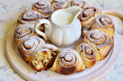 Yeast buns with cinnamon. Royalty Free Stock Photo