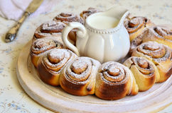 Yeast buns with cinnamon. Stock Photo