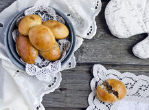 Yeast buns with meat Royalty Free Stock Image
