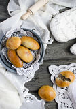 Yeast buns with meat Royalty Free Stock Photos
