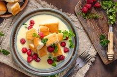 Free Yeast Buns With Vanilla Sauce Royalty Free Stock Photos - 156242648